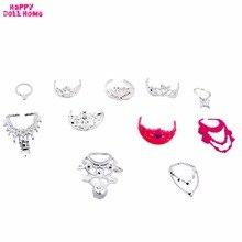 11 Pcs Set Fashion Jewelry Necklace Plastic Chain Crown Princess Empress Accessories For Barbie Dolls Kids