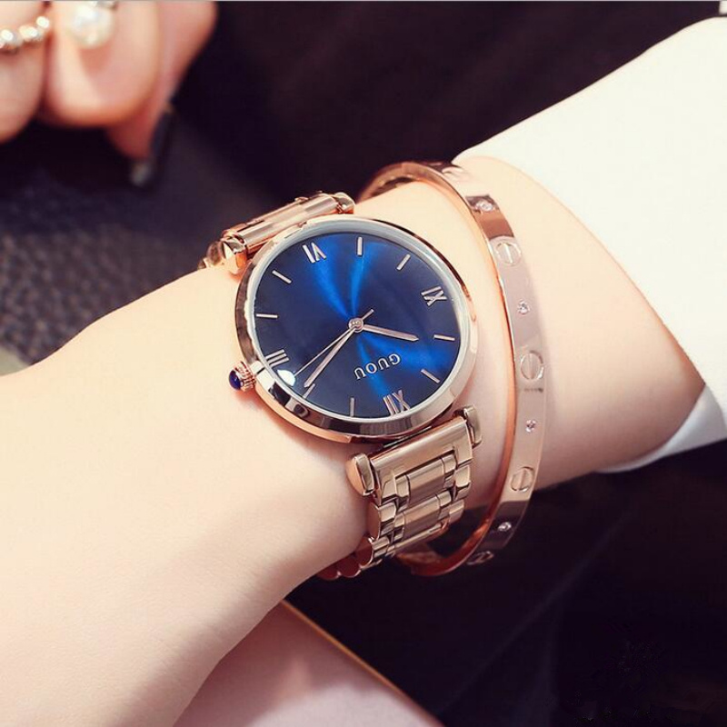 GUOU Top Brand Luxury Ladies Watch Rose Gold Watch Women Watches Women's Watches Clock relogio feminino reloj mujer montre femme cuena top women s watches genuine leather women quartz watch relojes reloj mujer montre femme relogio feminino ladies clock 6626