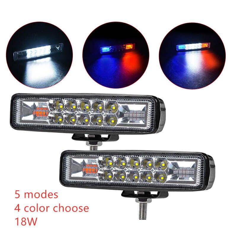 6inch LED Work Light Bar Double Color Strobe 12V 24V Spot Flood Beam For Offroad Moto SUV ATV LED Day Driving Fog Lamp Spotlight