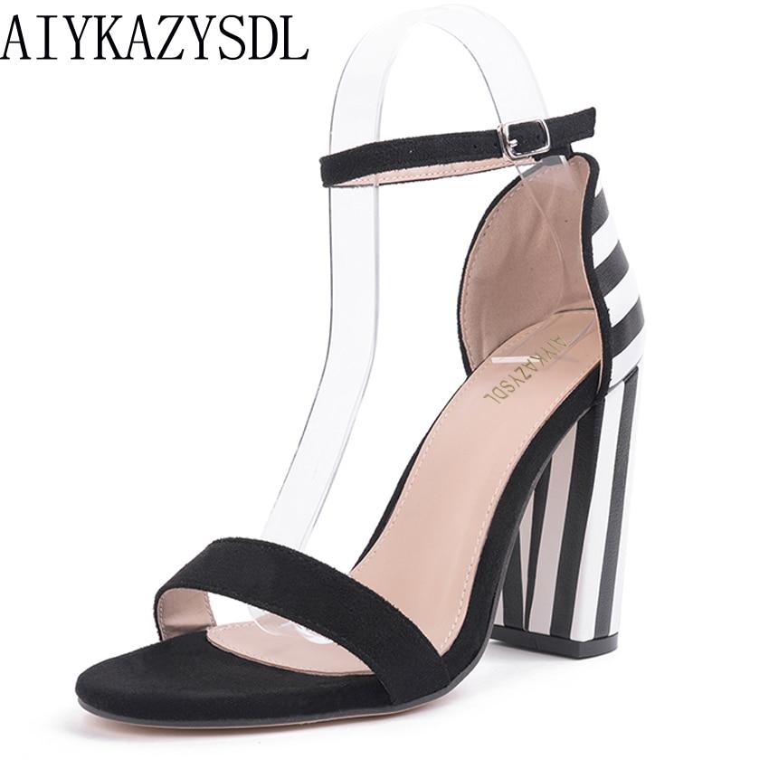 AIYKAZYSDL Women Pumps 2018 Striped Mixed Color Rome Sandals Basic Thick Block Square High Heels Shoes Chaussure Femme Talon aiykazysdl summer women sandals thick