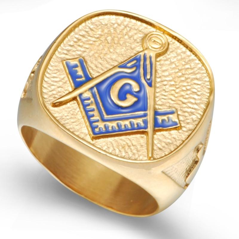 Size 7-15 Stainless Steel Masonic Signet Ring Mason Master Knight Templar Biker