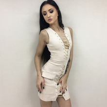 Lace up Suede Bodycon Dress