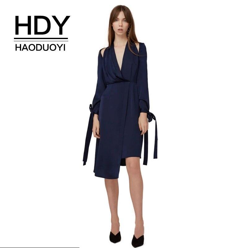 HDY Haoduoyi New Fashion Dresses Halter Neck Women Long Sleeve Dress V Neck High Waist Midi Dresses Sexy Party Clubwear