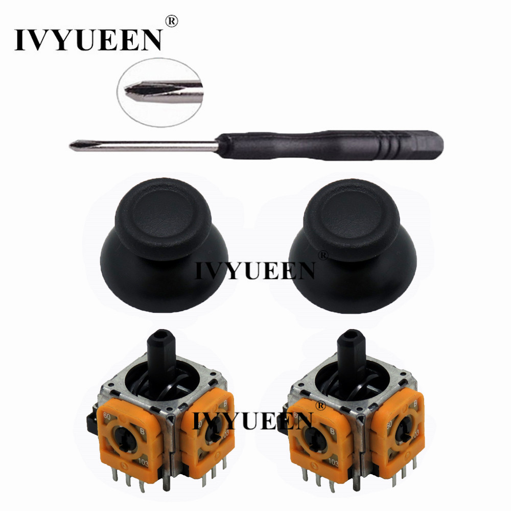 IVYUEEN <font><b>2</b></font> Sets for Dualshock <font><b>4</b></font> PS4 PRO Slim Controller 3D Analog Stick 3 <font><b>Pin</b></font> Sensor Module Potentiometer with ThumbSticks Caps image