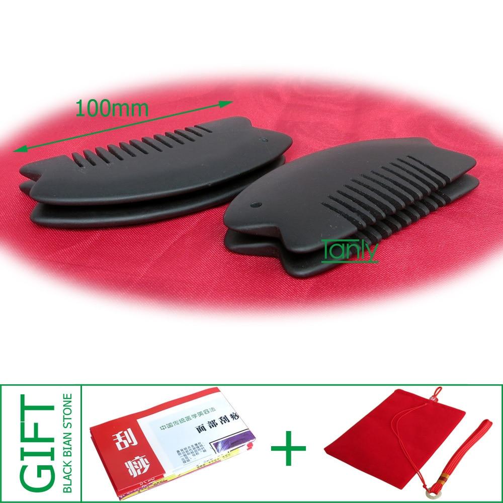Wholesale & Retail Black Bian Stone Massage Guasha Comb health care product  (95x50mm)
