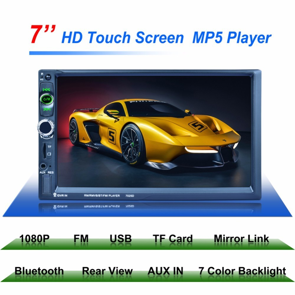 7025D 2Din 7inch 1024*600 Car MP5 Player Bluetooth Mirror Link Radio Tuner Steering Wheel Remote Control Car Stereo Media Player
