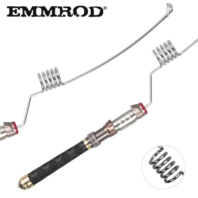 EMMROD Stainless Steel Fishing Rod Short Portable Spinning rod EVA+Stainless Steel+Aluminum Handle Ice Sea Boat pole GZ