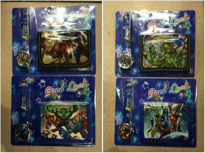 new arrival Fast shipping 20PCS avengers watch Children Watch with wallet birthday gift for children