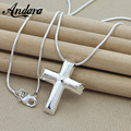 ANDARA New Arrival Fashion Cross Pendant Necklace 925 Silver Ladies Necklaces Chain High Quality Jewelry Christmas Gift N327