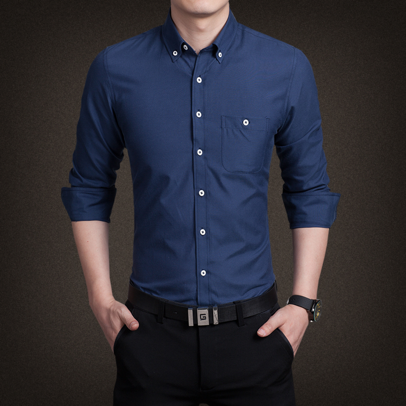New 2016 Brand Solid Color Shirt Men Famous Brand Business
