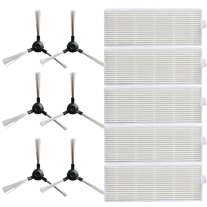 10 Side Brushes + 10 Filters HEPA For Proscenic 811 GB / 911SE Sweeper Accessories Plastic Cleaning Product Replacement