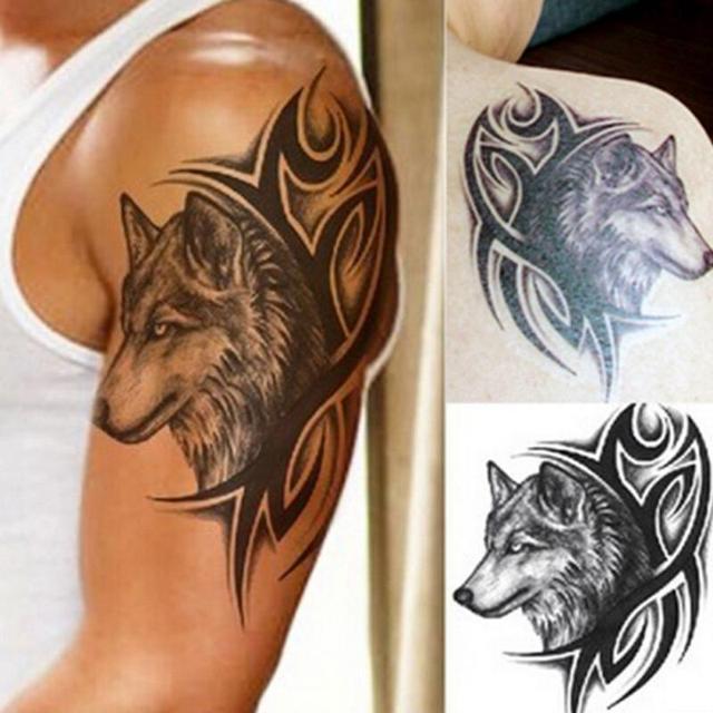 5 Unids Moda 3d Gran Lobo Cabeza Impermeable Tatuaje Removible