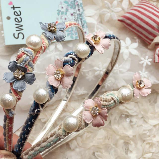 Online Shop Korea Flowers Hand made Fabric flowers Retro Hair Accessories  Diamond Hair Band Hair Bows Flower Crown Headbands For Women 4  aff1478d04ea