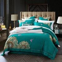 2018 Египетский длинный хлопковый набор постельного белья с вышивкой. Пододеяльник кровати застежки для простыни льняной чехол для подушки.