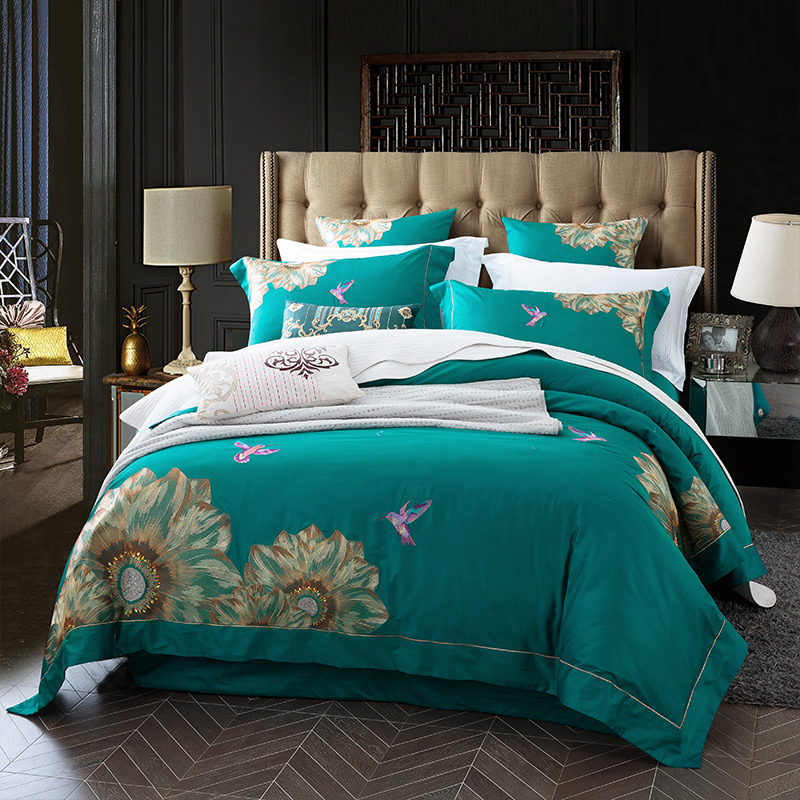 2018 Egyptian Long-staple  cotton  Embroidery  Bedding Set .Duvet Cover Bed sheet Bed Linen Pillowcases. Dance of Flowers2018 Egyptian Long-staple  cotton  Embroidery  Bedding Set .Duvet Cover Bed sheet Bed Linen Pillowcases. Dance of Flowers