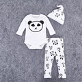 2016 Otoño Invierno Baby Girl $ number piezas Mamelucos Recién Nacido Niño Impresa Jumpers Mamelucos Del Sombrero Juego Traje Trajes Ropa de Los Mamelucos