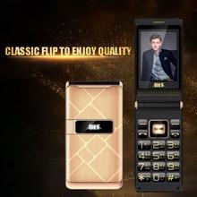Flip גדול מגע מסך פלסטיק בכיר טלפון סלולרי נייד עבור זקנים אחד מפתח לפיד חיצוני FM גדול רוסית מפתח כפולה ה sim BLT61