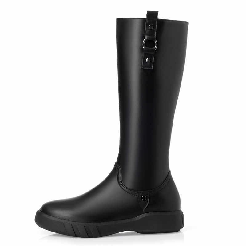 MORAZORA 2019 คุณภาพสูงธรรมชาติขนสัตว์เข่ารองเท้าบูทสูงของแท้หนังซิปแบนรองเท้า Winter Snow BOOTS