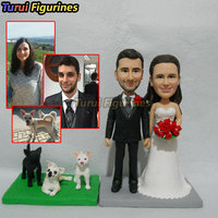 wedding cake topper with custom cat dog face human people figurine from photo picture custom design by Turui Figurines mini stat