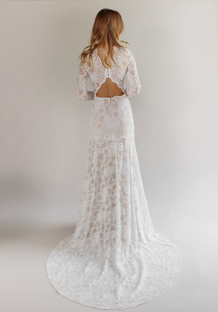 Купить с кэшбэком Wedding Dresses Boho 2020 Long Sleeves Exquisite Lace Backless Chic Wedding Dress Robe De Mariage  Bridal Gowns
