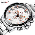 LONGBO Military Decorative Chronograph Stainless Steel Band Sports Quartz Watches For Men Male Watch Relogio Masculino 80250