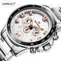 Longbo militar chronograph decorativa em aço inoxidável banda de quartzo esportes relógios para homens relógio masculino relogio masculino 80250