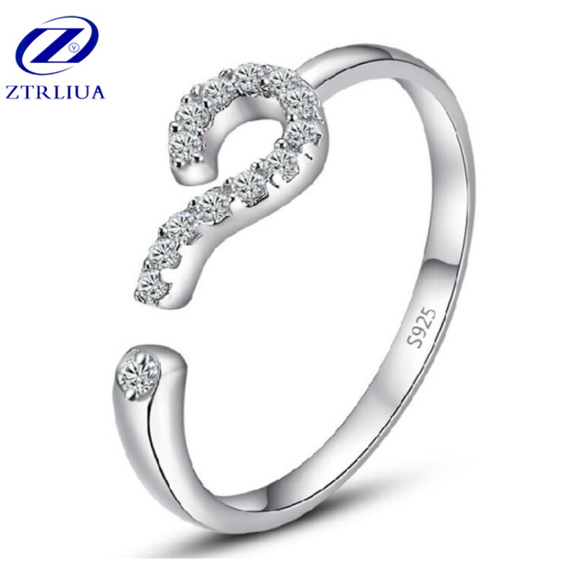 New Arrival Temperament Korean Style Fashion 925 Sterling Silver Jewelry Creative Crystal Question Mark Opening Rings SR295