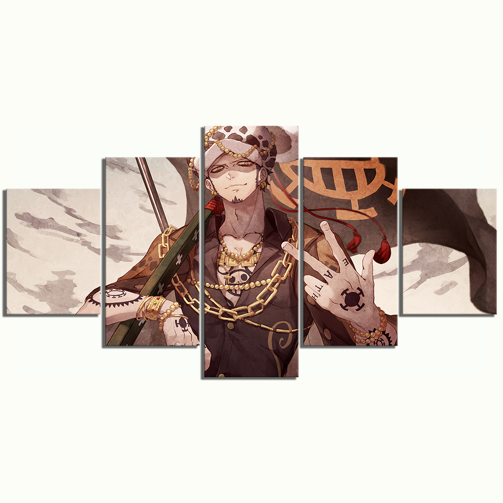 5 Panels Trafalgar Law One Piece Anime Poster Artwork Canvas Art Wall Paintings for Home Decor 3