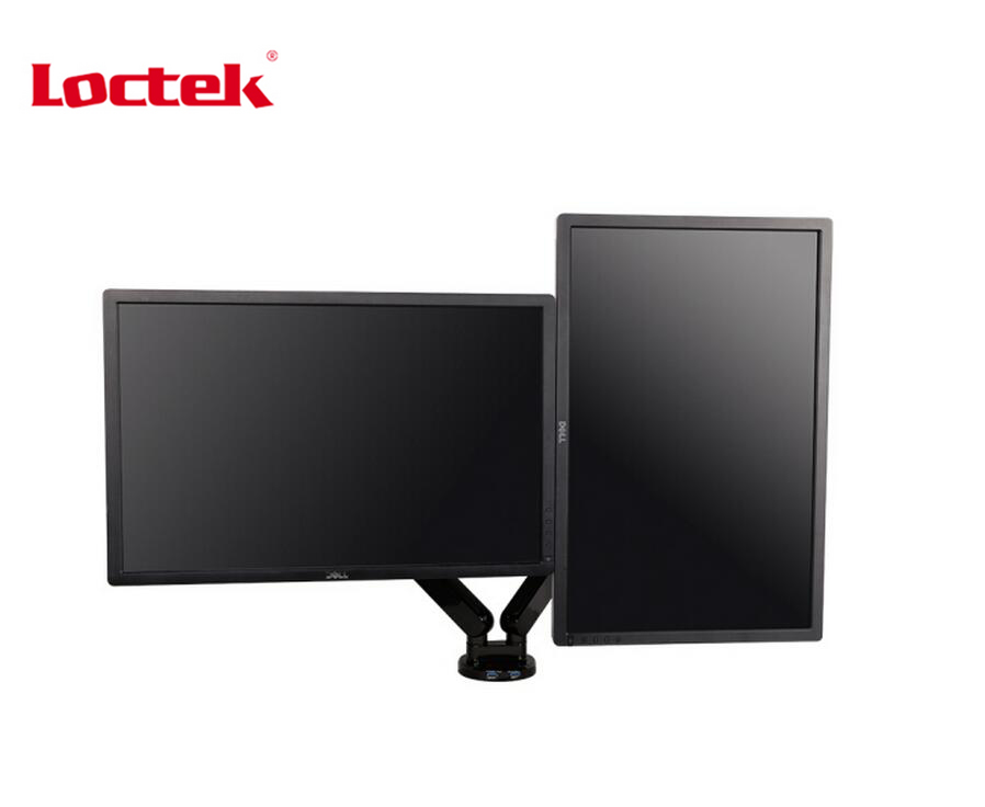 Loctek Q5D Gas Spring Desktop 10 27 inch Dual Monitor Holder Mount Arm Display Stand With 2 USB Port Loading 2 9kgs each Head in TV Mount from Consumer Electronics