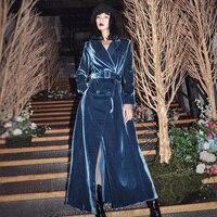 Guesod Women 2018 Winter Women Trench Velour Dress Double Breasted Slim Waist Long Trench Coat Female Coat