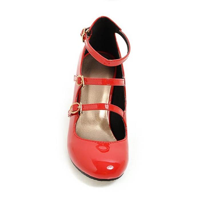 Plus Size 34-43 Women Mary Jane\'s Pumps Buckle Strap High Heels Patent Leather Shoes Woman Square Heel Pumps Women Wedding Shoes (1)