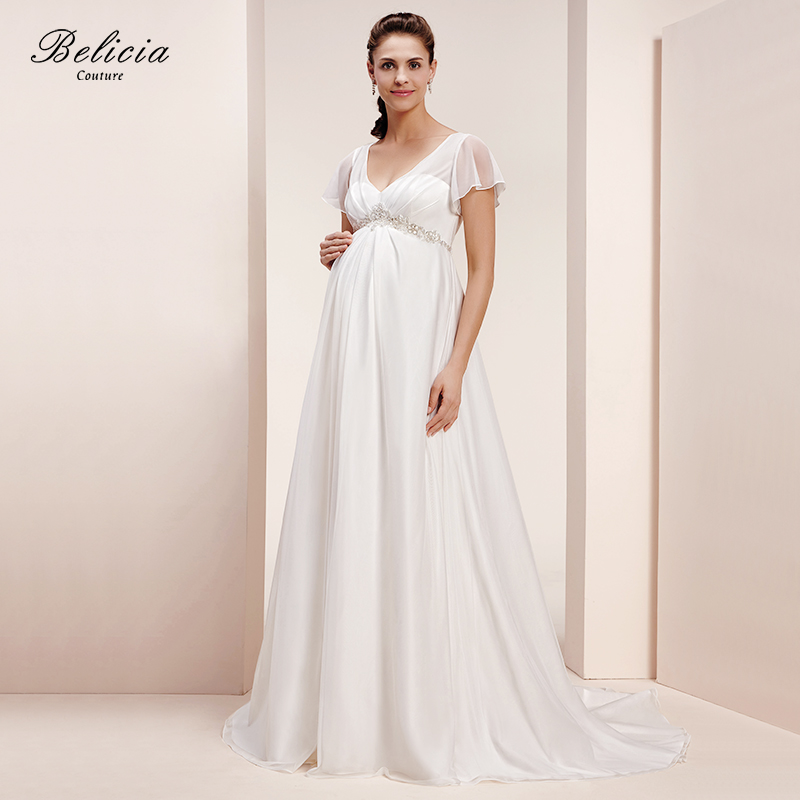 Excellent Lace Maternity DressPhoto ShootWhite Chiffon Dress PregnantWedding Dressgown Sleeveless ...