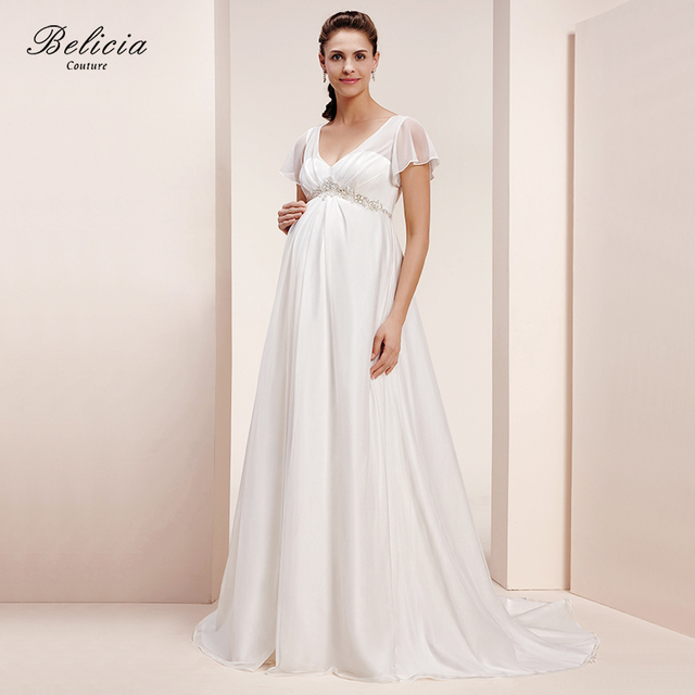 Belicia Couture Tulle Maternity Wedding Dress V Neckline Appliques Short Sleeves Bridal Gown For Pregnant