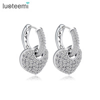 Teemi Brand 2016 New Design High Quality Tiny Crystal Hoop Earrings With Heart Pendant For Women