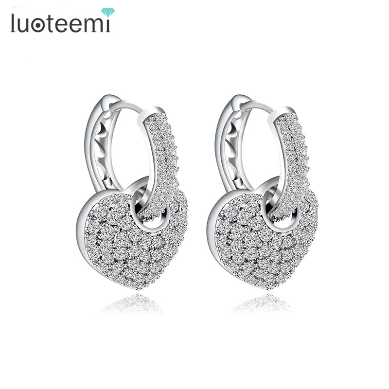 LUOTEEMI Brand New Design High Quality Tiny Crystal Hoop Earrings with Heart Pendant for Women Micro Shining CZ Wedding Brinco