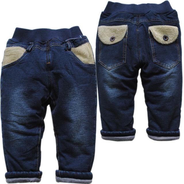 3798 nuevo invierno muy cálido niños ocasionales de los muchachos pantalones vaqueros del bebé pantalones de algodón acolchado corporeidad pantalones casuales