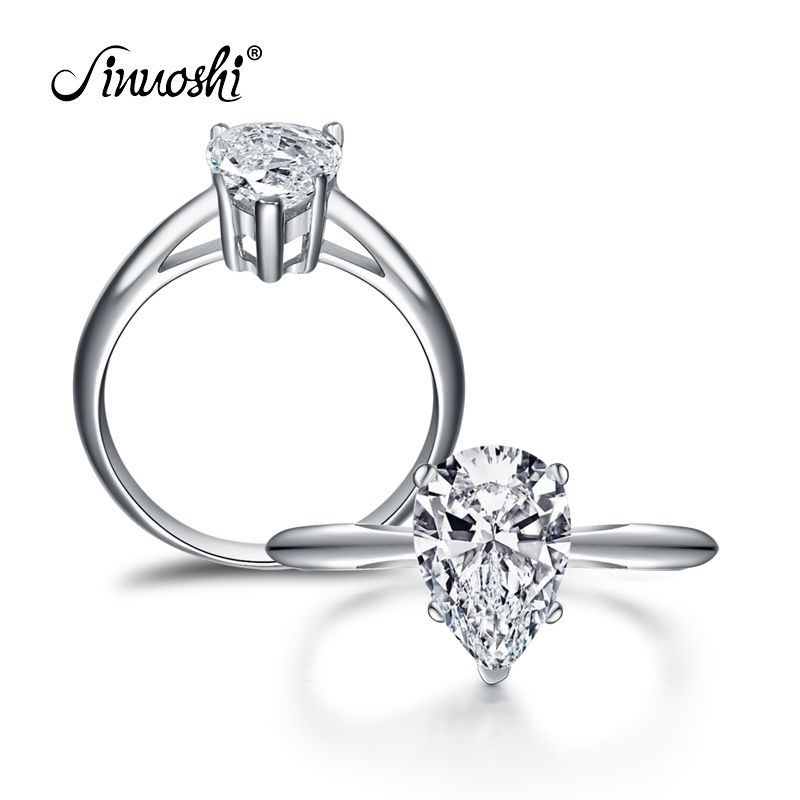 AINOUSHI 2 Carat Pear Bentuk Solitaire Cincin Bridal Band Wanita Perhiasan Asli 925 Sterling Silver Sona Engagement Wedding Ring