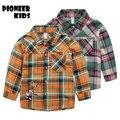 Pioneer niños 2017 año nuevo 3-9 t niños moda camisas de algodón niños clothing alta calidad camisa del uniforme escolar niño niñas blusas