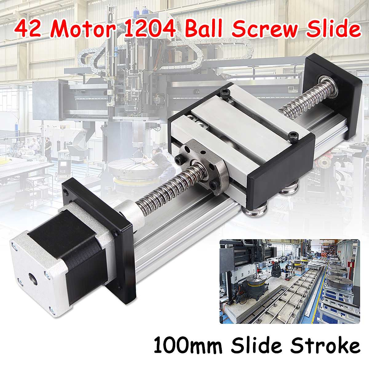 NEW 100mm Slide Stroke CNC Linear Motion Lead 1204 Ball Screw Slide Stage Stroke 42 Motor Actuator Stepper For Engraving Machine funssor 50mm 150mm slide stroke cnc z axis slide linear motion nema17 stepper motor for reprap engraving machine