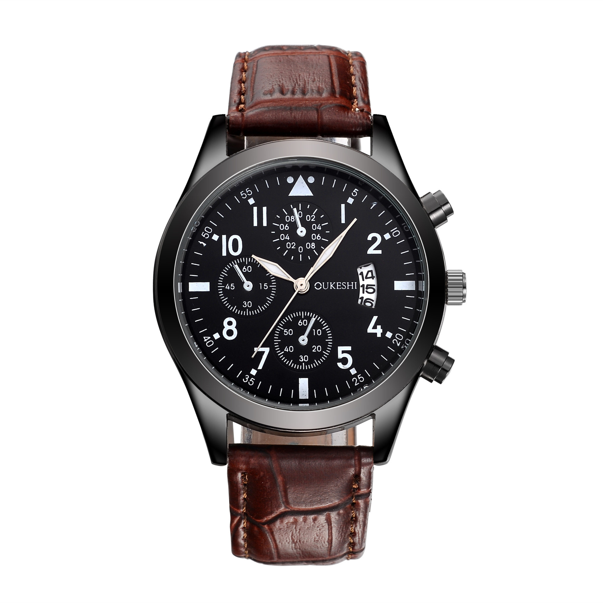 OUKESHI Brand Fashion Calendar Business Men Watches Casual Leather waterproof Quartz Wristwatches Relogio Masculino Clock T12