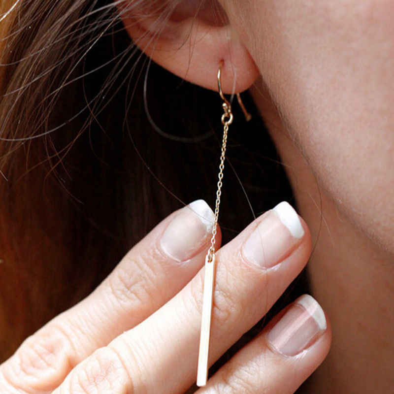 Punk Jewelry Fashion Women Charms Tassels Metal Bar Ear Jewelry Drop Earrings Vintage Gold Colour Long Pendant Chain Earring