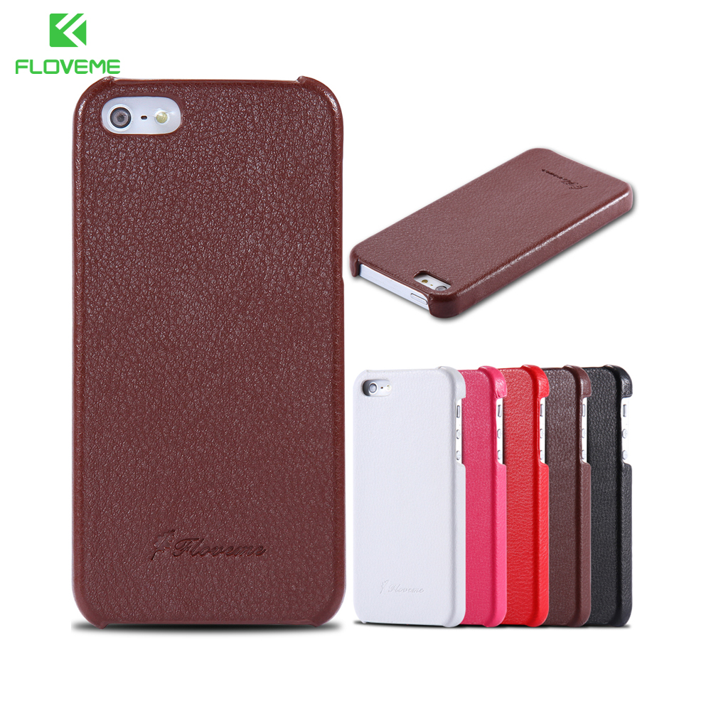 Floveme 5S SE Lychee Grain Genuine Leather Case For Apple iphone 5 5S 5G SE Mobile Phone Ultra Thin Slim Back Cover For iphone5S