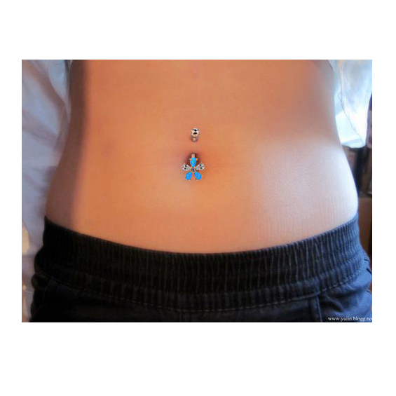 BODY PUNK 14G Surgical Steel Belly Button Rings Silver Rose Gold With Clear CZ White Blue Synthetic Opal Flower Navel Rings