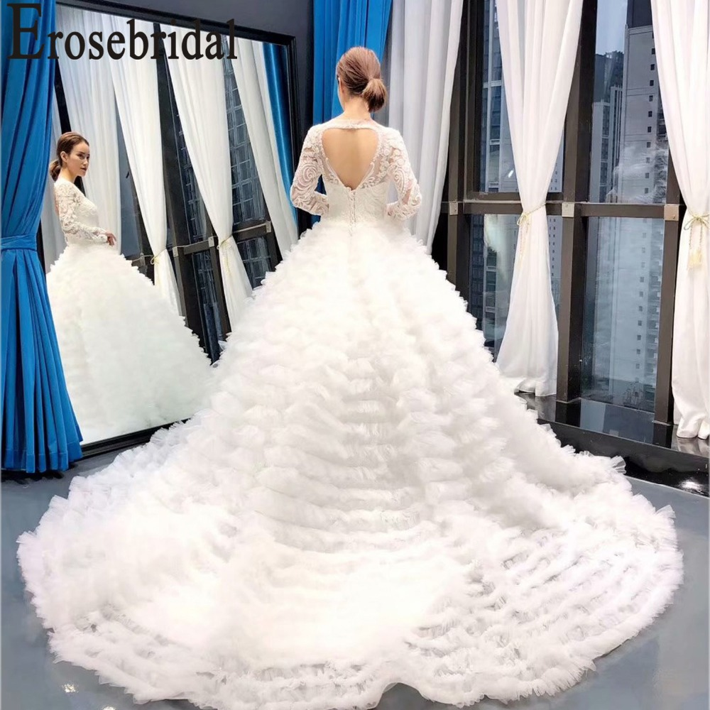 Erosebridal Long Sleeve Lace Wedding Dress 2019 New 3D Lace Ball Gown Bridal Gown with Chapel Train Tiered Skirt Custom Made in Wedding Dresses from Weddings Events