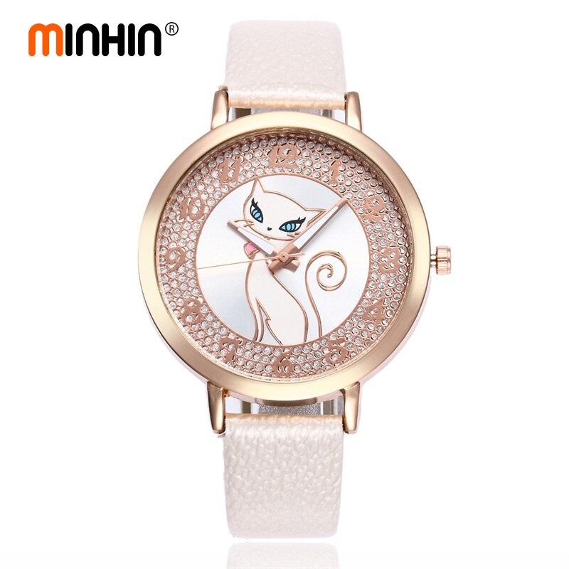 MINHIN Cartoon Cat Watches For Women Fashion Leather Strap Quartz Wristwatches Student Smart Watches Gift