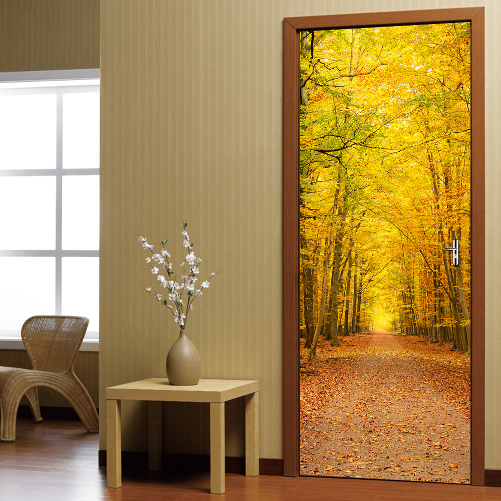 Autumn Fallen Leaves Landscape Door Stickers For Bedroom 3D Refurbished New Vinyl Decor Decal Removable Self-adhesive Wallpapers