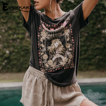 Everkaki Retro Bohemian Tshirt Women Printed Tees&Tops Summer 2019 Boho T Shirt Fashion&Casual Womens Clothing T-Shirt