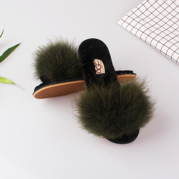Clearance Sale Summer Autumn Women Home Plush Slippers With Fur Ladies Floor Bedroom Flip Flops zapatos de mujer Flat Shoes 3