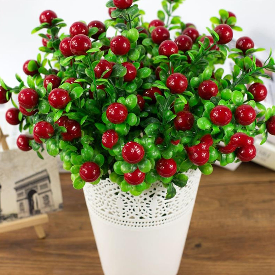 Party Decoration Artificial Fruit Small Berries Artificial Flowers Simulation Decorative Red Stamen Wedding Christmas DIY Craft in Artificial Fruits from Home Garden