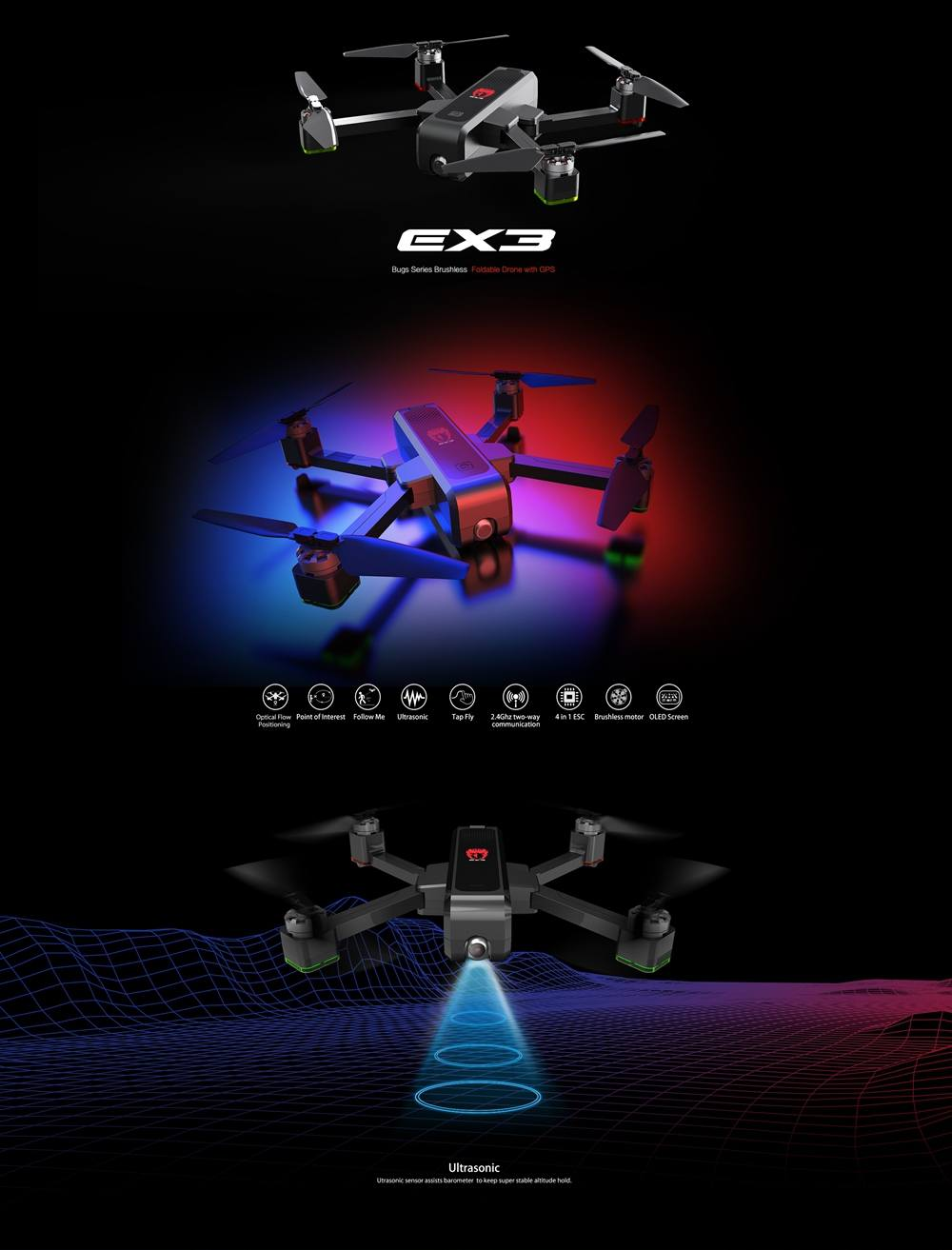 Eachine EX3 Drone With GPS And Dual Camera